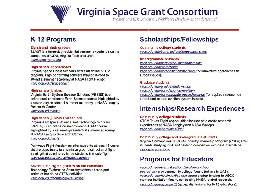 About the Virginia Space Grant Consortium.