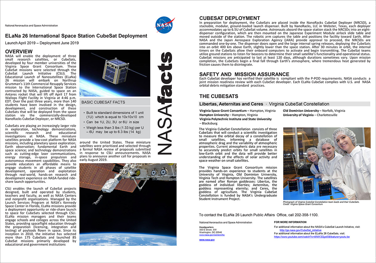Virginia CubeSat Constellation
